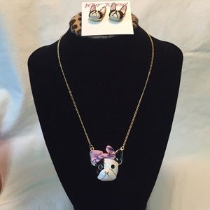Authentic NWT Betsey Johnson dog necklace/earring